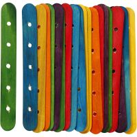 Bastoncini con buchi, L: 15 cm, L: 1,8 cm, misura buco 4 mm, colori asst., 20 asst./ 1 conf.