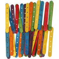 Bastoncini con buchi, L: 15 cm, L: 1,8 cm, misura buco 4 mm, colori asst., 500 asst./ 1 conf.