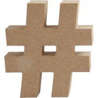 Simbolo in MDF, #, H: 13 cm, spess. 2 cm, 1 pz