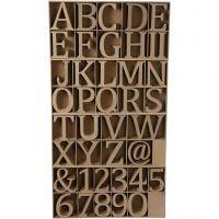 Lettere, numeri e simboli in legno, H: 13 cm, spess. 2 cm, 160 pz/ 1 conf.