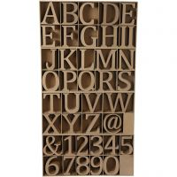 Lettere, numeri e simboli in legno, H: 8 cm, spess. 1,5 cm, 240 pz/ 1 conf.