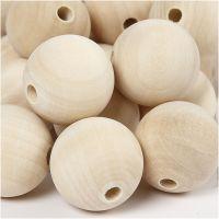 Perlina di legno, diam: 30 mm, misura buco 5 mm, 50 pz/ 1 conf.