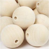 Perlina di legno, diam: 35 mm, misura buco 6 mm, 50 pz/ 1 conf.
