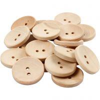 Bottoni in legno, diam: 23 mm, misura buco 2 mm, 2 buchi, 20 pz/ 1 conf.