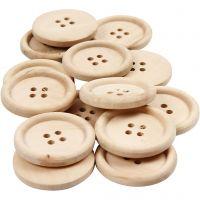 Bottoni in legno, diam: 30 mm, misura buco 2 mm, 4 buchi, 14 pz/ 1 conf.