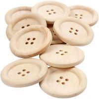 Bottoni in legno, diam: 35 mm, misura buco 2 mm, 4 buchi, 10 pz/ 1 conf.