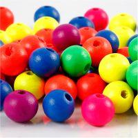 Mix neon perline in legno, diam: 10 mm, misura buco 2,5 mm, neonmix, 18 g/ 1 conf.