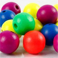 Mix neon perline in legno, diam: 16 mm, misura buco 3 mm, neonmix, 16 g/ 1 conf.