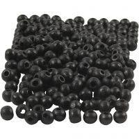 Perline in legno, diam: 5 mm, misura buco 1,5 mm, nero, 6 g/ 1 conf., 150 pz