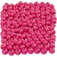 Perline in legno, diam: 5 mm, misura buco 1,5 mm, rosa, 6 g/ 1 conf., 150 pz