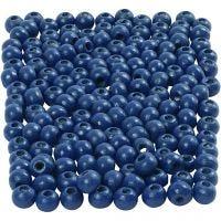 Perline in legno, diam: 5 mm, misura buco 1,5 mm, blu, 6 g/ 1 conf., 150 pz