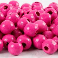 Perline in legno, diam: 12 mm, misura buco 3 mm, rosa, 22 g/ 1 conf., 40 pz