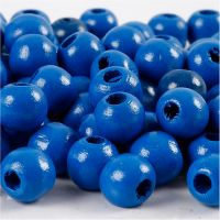Perline in legno, diam: 12 mm, misura buco 3 mm, blu, 22 g/ 1 conf.