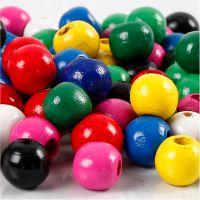 Mix perline di legno, diam: 12 mm, misura buco 3 mm, colori asst., 22 g/ 1 conf.