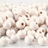 Perline in legno, diam: 8 mm, misura buco 2 mm, bianco, 15 g/ 1 conf., 80 pz