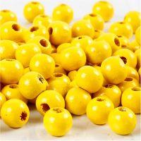 Perline in legno, diam: 8 mm, misura buco 2 mm, giallo, 15 g/ 1 conf., 80 pz