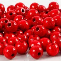 Perline in legno, diam: 8 mm, misura buco 2 mm, rosso, 15 g/ 1 conf., 80 pz