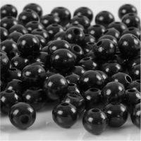Perline in legno, diam: 8 mm, misura buco 2 mm, nero, 15 g/ 1 conf., 80 pz