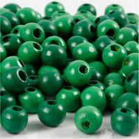 Perline in legno, diam: 8 mm, misura buco 2 mm, verde, 15 g/ 1 conf., 80 pz