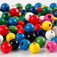 Mix perline di legno, diam: 8 mm, misura buco 2 mm, colori asst., 15 g/ 1 conf.