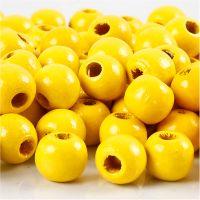 Perline in legno, diam: 10 mm, misura buco 3 mm, giallo, 20 g/ 1 conf.