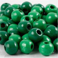 Perline in legno, diam: 10 mm, misura buco 3 mm, verde, 20 g/ 1 conf.