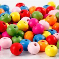 Mix perline in legno, diam: 8 mm, misura buco 1,5-2 mm, colori asst., 16 g/ 1 conf.