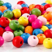 Mix perline in legno, diam: 8 mm, misura buco 1,5-2 mm, colori asst., 500 g/ 1 sacco