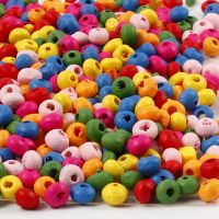 Mix perline in legno, diam: 4 mm, misura buco 1-1,5 mm, 300 g/ 1 sacco