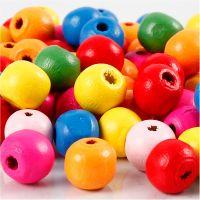 Mix perline in legno, diam: 10 mm, misura buco 2,5-3 mm, colori asst., 22 g/ 1 conf.