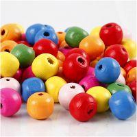Mix perline in legno, diam: 10 mm, misura buco 2,5-3 mm, colori asst., 500 g/ 1 sacco