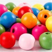 Mix perline in legno, diam: 12 mm, misura buco 2,5-3 mm, colori asst., 22 g/ 1 conf.