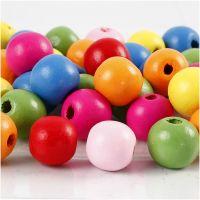 Mix perline in legno, diam: 12 mm, misura buco 2,5-3 mm, colori asst., 500 g/ 1 sacco