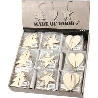 Ornamenti naturali 3D, cuore, stella e albero, misura 7,5x7,5x0,2 cm, 3x30 pz/ 1 conf.