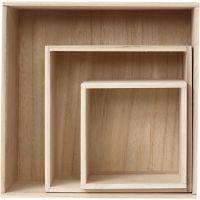 Scatole, quadrato, H: 15x15+21,5x21,5+28x28 cm, P 12,5 cm, 3 pz/ 1 set