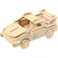 Kit costruzione 3D in legno, automobile, misura 13x9x6 cm, 1 pz
