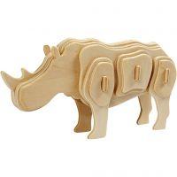 Kit costruzione 3D in legno, rinoceronte, misura 16x4x8 cm, 1 pz