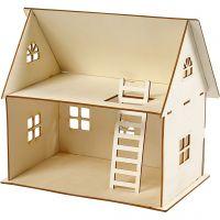 Casa delle bambole da costruire, H: 25 cm, misura 18x27 cm, 1 pz
