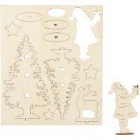 Sagome autoassemblanti, Babbo Natale, albero di Natale, renna, L: 20 cm, L: 17 cm, 1 conf.