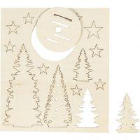 Sagome autoassemblanti, albero di Natale, L: 20 cm, L: 17 cm, 1 conf.