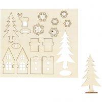 Sagome autoassemblanti, casa, albero, capriolo, L: 15,5 cm, L: 17 cm, 1 conf.