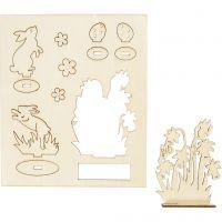 Sagome autoassemblanti, lepri e fiori, L: 20 cm, L: 17 cm, 1 conf.