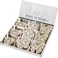 Ornamento in legno, farfalla, fiore e uccellino, H: 10 cm, 90 pz/ 1 conf.