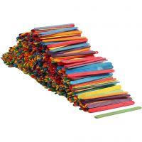 Bastoncini in legno , L: 11,4 cm, L: 10 mm, colori asst., 1000 pz/ 1 conf.