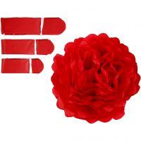 Pom-poms in carta velina, diam: 20+24+30 cm, 16 g, rosso, 3 pz/ 1 conf.