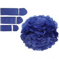 Pom-poms in carta velina, diam: 20+24+30 cm, 16 g, blu scuro, 3 pz/ 1 conf.