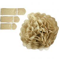 Pom-poms in carta velina, diam: 20+24+30 cm, 16 g, oro, 3 pz/ 1 conf.
