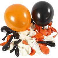 Palloncini, rotondi, diam: 23-26 cm, nero, arancio, bianco, 100 pz/ 1 conf.