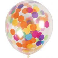 Palloncini con confetti, rotondi, diam: 23 cm, transparent, 4 pz/ 1 conf.