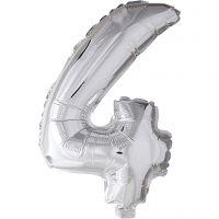 Palloncino alluminio - 9, 4, H: 41 cm, argento, 1 pz